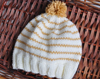 Cream & Camel stripe hand knit Hat and Beanie