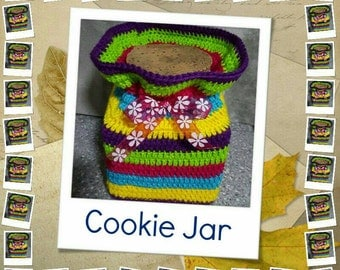 Lolly Jar /Cookie Jar with Brightly Coloured Crochet Cover