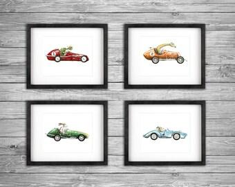"Set of 4 - Vintage Race Car with Animals Driving Watercolor Artwork Print Boys Nursery Room 8"" x 10"" Baby Decor"