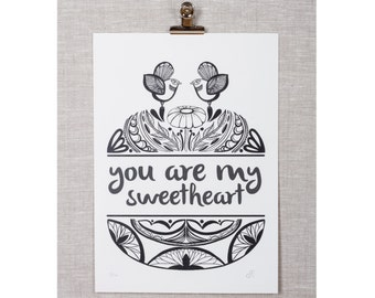 Small You are My Sweetheart limited edition print