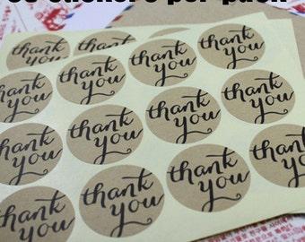 36 Kraft Thank You Stickers/ Round Kraft Thank You Sticker Labels