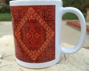 Original Red Embroidery Mug with coaster