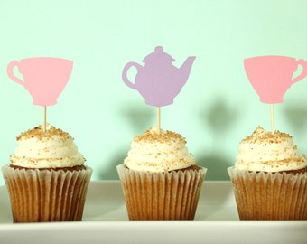 Tea Party Cupcake Toppers - Afternoon Tea Cupcake Toppers - Tea Party Decor