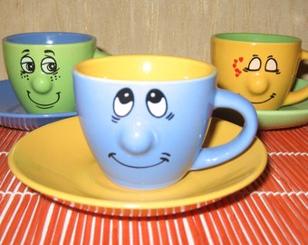 Coffee set of cups and saucers wiht smiling faces, 6 pieces