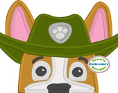 Tracker Paw Patrol Peeker Applique Machine Embroidery Design 5x7 hoop