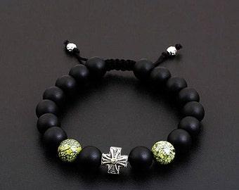 Mens Beaded Bracelet, Matte Black Onyx Bracelet, Bracelet Men, Shamballa Bracelet, Men's Onyx Bracelet,Spiritual Bracelet,Men's Onyx Jewelry
