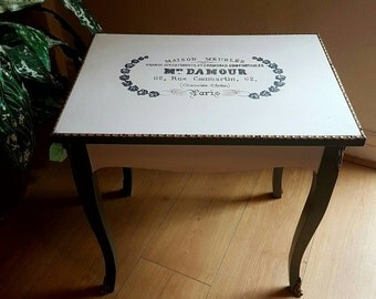 Ooak Table Mme Damour French Typography Script Occasional Coffee Medium White F&Ball Inchyra Blue and Brass