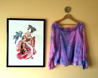 90s pink and blue tie dye chiffon ruffle blouse