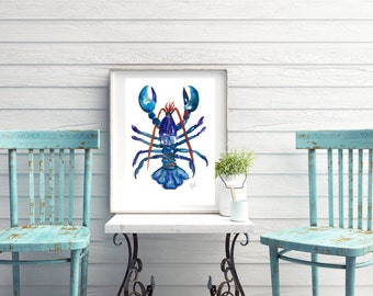 Framed Lobster Watercolour Print