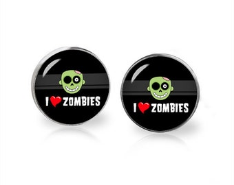 I love Zombies Stud Earrings Zombie Earrings Geeky Jewelry Fangirl Fanboy
