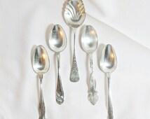 5 Vintage Assorted Silverplate Serving Spoons
