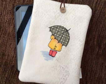 Hand painted iPad mini / kindle fire cover - Green Dotty Brolly