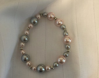 Pink and Grey  Pearl Stretch Bracelet
