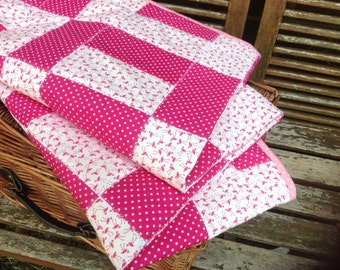 Handmade cot/cotbed quilted topper 120cm-100cm flamingos and dots