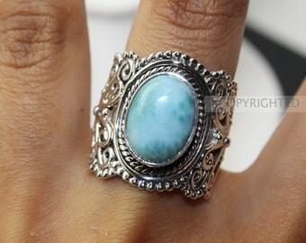 Larimar Ring, 925 Sterling Silver Ring, Gemstone Rings, Crystal Rings, Healing Rings