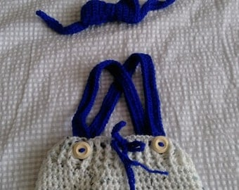 Newborn crochet hat and bowtie set