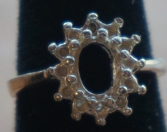 Handmade sterling silver ring mounting( 7X5mm center oval and 1.2mm round stone halo)- size 5.5