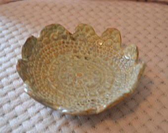 Handbuilt Pottery Bowl with Doily Imprint and Scalloped Edge