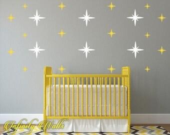 starburst multi color wall decor decals metallic starburst decal set sparklepattern decals nursery - Starburst Wall Decor