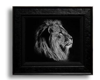 Lion Print 8.5x11 Black and White
