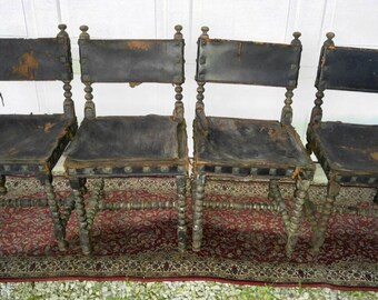 4-Antique Spanish Colonial Stamped Leather Chairs (Price is per chair as in each)