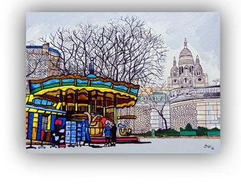 Sacre Coeur of Paris, acrylic paint by Jotawi