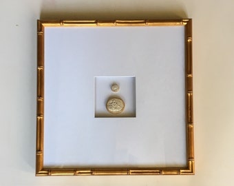 Framed Intaglio Art with Bamboo Frame