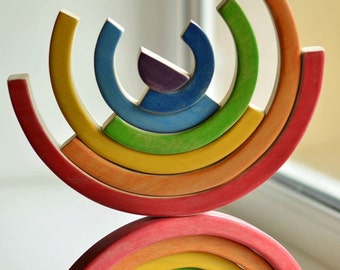 Waldorf RAINBOW Stacker // Puzzle // Wooden toys // for Toddlers // Handmade Eco Friendly Toy // Waldorf Toy // Arcoiris // Arcobaleno