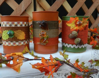 Decorated Fall Aluminum Cans Containers