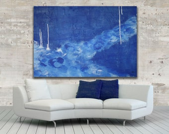 Extra Large Blue Painting / Cobalt Blue Abstract Art / Modern Art / Abstract Painting