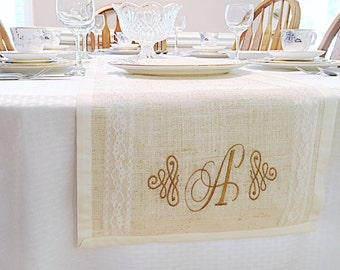 Burlap Lace Table Runner- Burlap Table Runner- Burlap Table Linens- Burlap Table Runner with Lace- Monogrammed Burlap Table Runner-