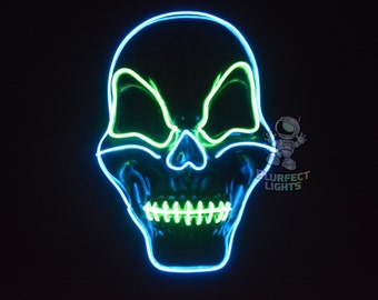 Green and Blue Skull Candy Halloween Mask El Wire Mask