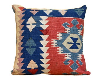 anatolia turkish hand woven kelim kissen 24x24 vintage kilim pillow bohemian pillow home decor kilim pillow navy pillow c06