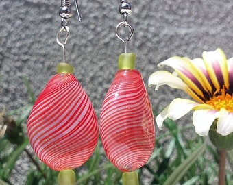 Handmade Blown Glass Beads, Drop, Pink Earrings