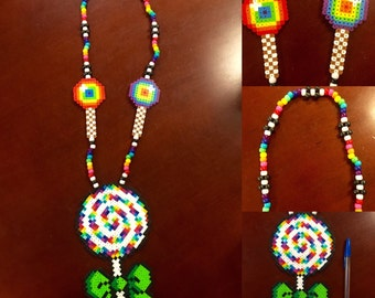 Rainbow Lollipop Kandi Necklace