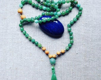 Mala calming Amazonite, Aventurine, sandalwood and Silver 925