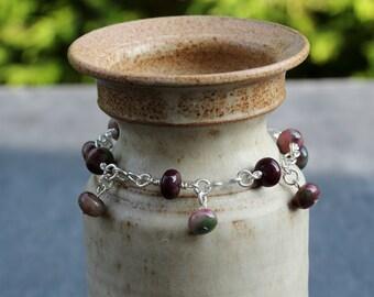 Tourmaline Gemstone Bracelet with Silver Plated Wirework