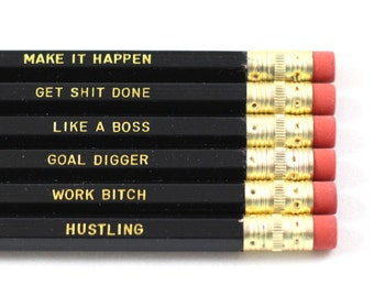 Work Motivations - Set of 6 Black Pencils