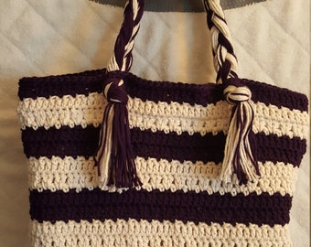 Crochet hand bag, Stripes beauty