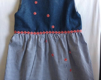 sweet, flowery checked jeans dress
