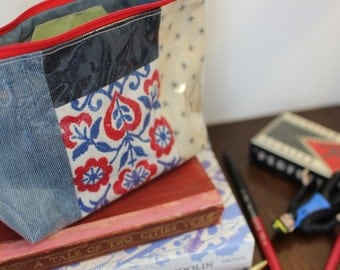 Blue PVC Pouch, denim make-up bag, back to school pencil case, organiser, stationary pouch, recycled fabrics, recycled denim.