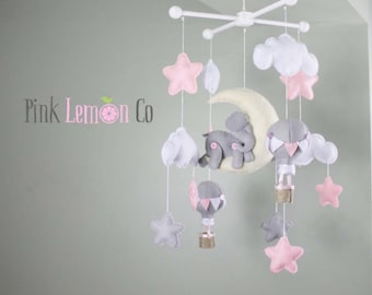 Baby Mobile - crib-nursery - Elephant and Hot Air Balloons Baby Mobile - crib mobile - nursery mobile - crib nursery mobile