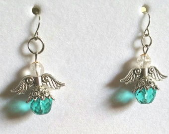 Teal crystal angel earrings