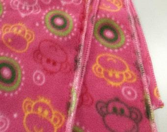 Pink Monkey Fleece Scarf