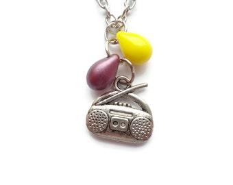 Boombox Necklace. Glass Bead, Czech Bead, Radio Jewelry Boombox jewelry BN107