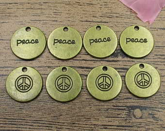 8 Peace Charms,Antique Bronze Tone,Round Tag-RS181