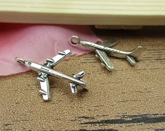 30 Airplane Charms Antique Silver Tone 3D Charms-RS299