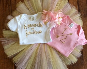 Half birthday outfit, pink and gold