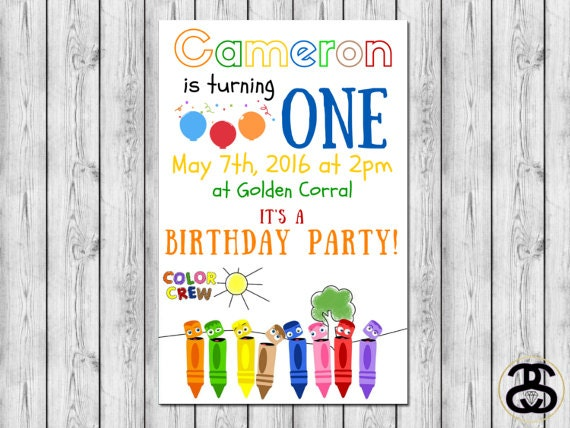 Color Crew Crayons Printable Birthday By Jennacspaperie On