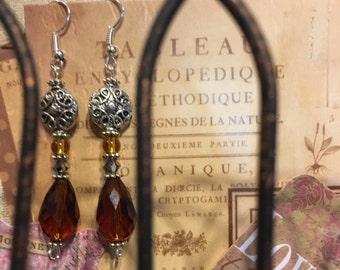 Fancy Amber Color Bead Earrings